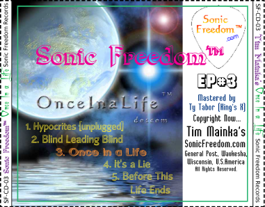 Sonic Freedom Once In a Life EP#3 CD Back Cover